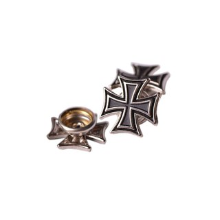 Beads Harvets Helmnieten Drucknieten Helmschmuck 3er Set Motiv Iron Cross Motorradhelm