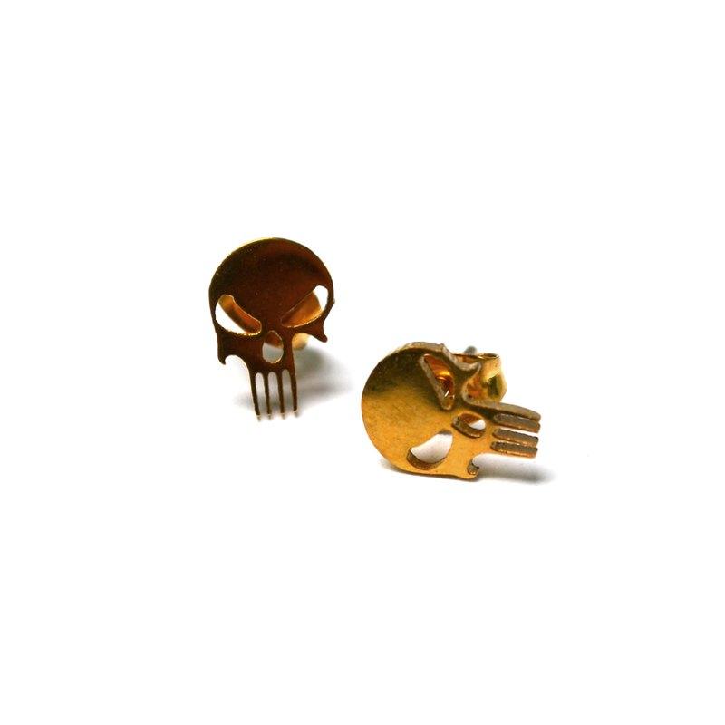 ohrstecker punisher 2er set edelstahl ohrringe gold bikerschmuck tote. Black Bedroom Furniture Sets. Home Design Ideas